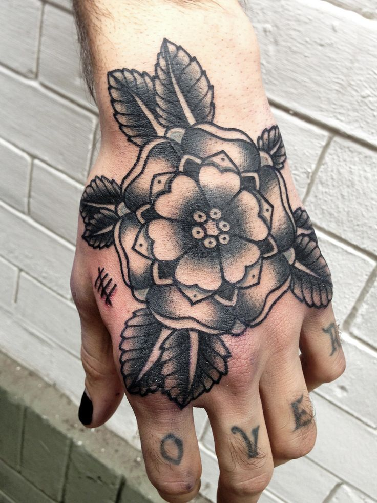 American Traditional Flower Tattoo Black And Grey