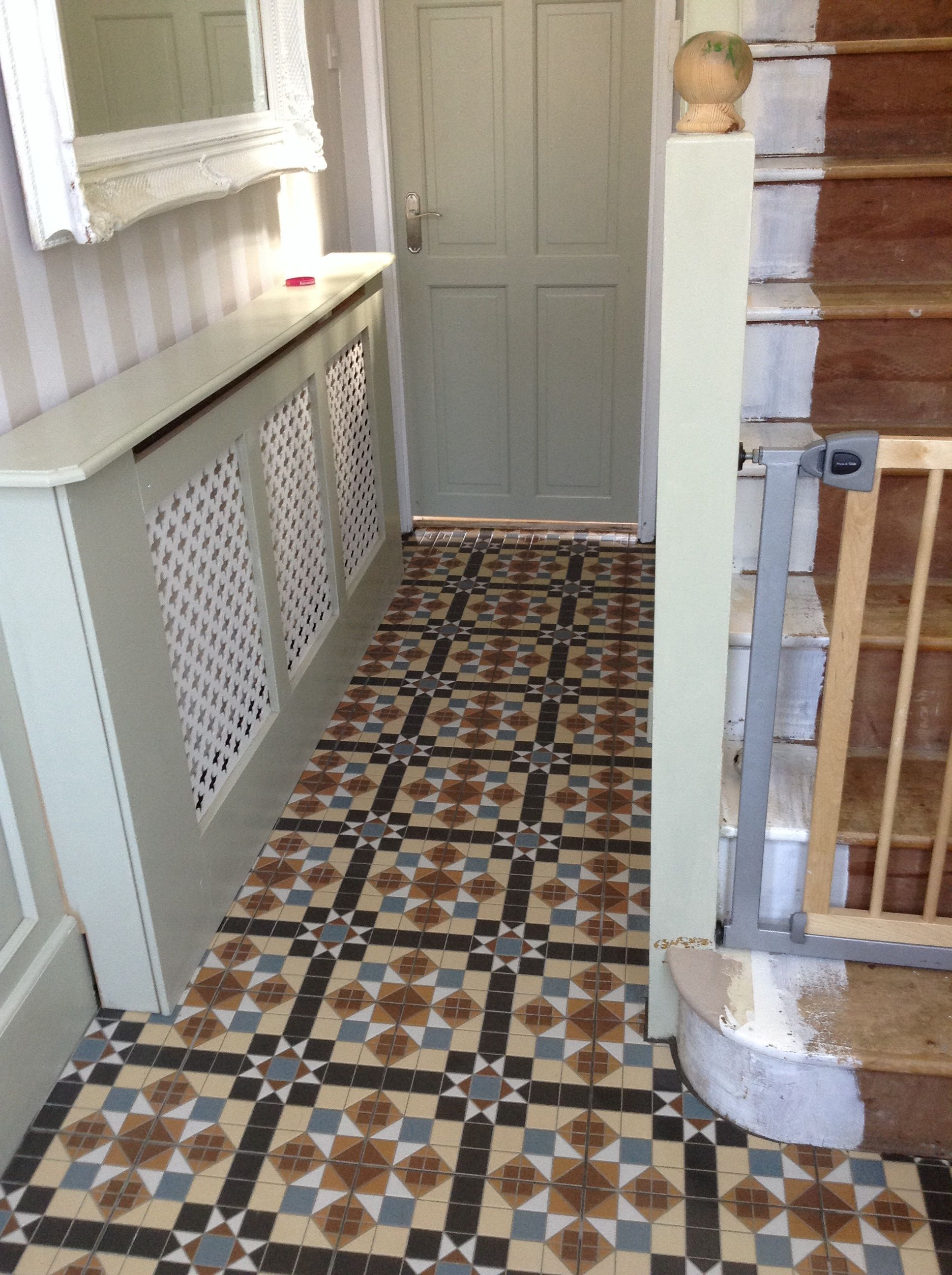 Freshly tiled hallway floor reproduction victorian tiles and freshly tiled hallway floor reproduction victorian tiles and stairs before wallpaper treatment pleased with my doublecrazyfo Image collections
