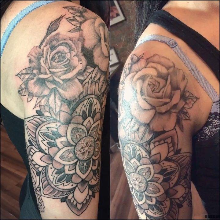 Mandala And Rose Tattoo Tattoos For Women Half Sleeve Sleeve Tattoos For Women Tattoos For Women