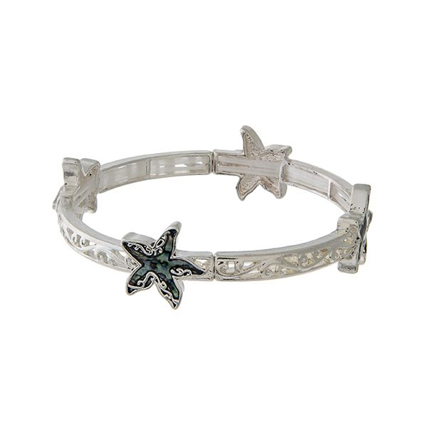 Wholesale silver filigree stretch bracelet abalone starfish accents