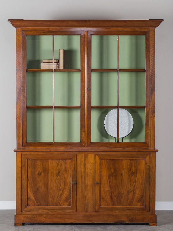 Antique French Cherrywood Louis Philippe Bibliotheque Bookcase circa 1850