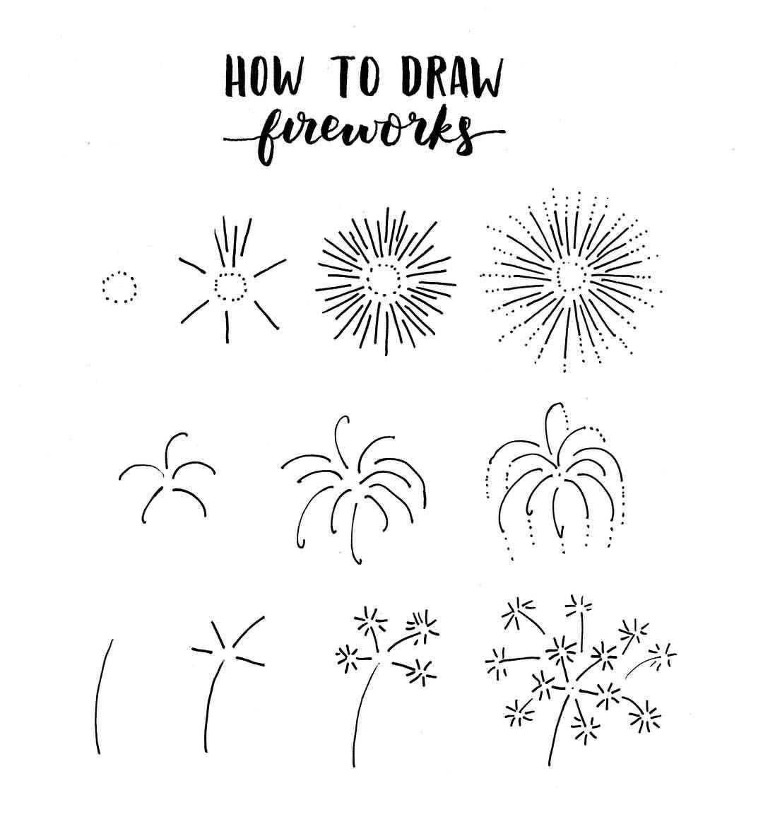 How To Draw Fireworks Black And White