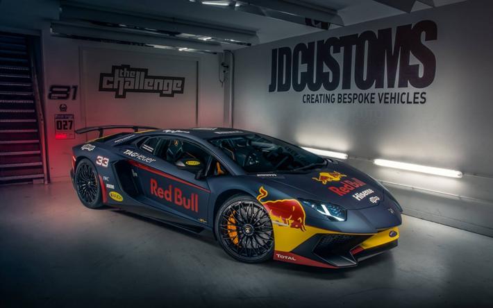 Download Wallpapers Lamborghini Aventador Red Bull 2017