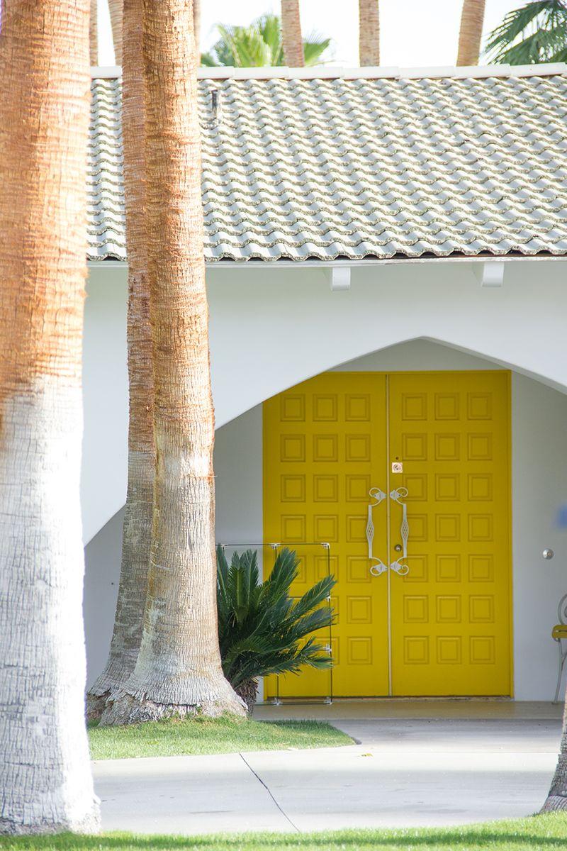 A Colorful Couple S Getaway At The Saguaro Hotel Studio Diy Door Design Exterior Entry Double Doors Yellow Front Doors