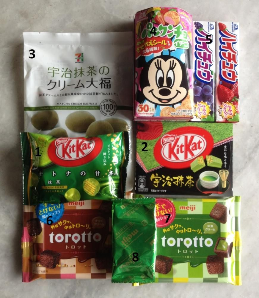 Japanese treats! green tea kitkats? gross! WORST Candy to
