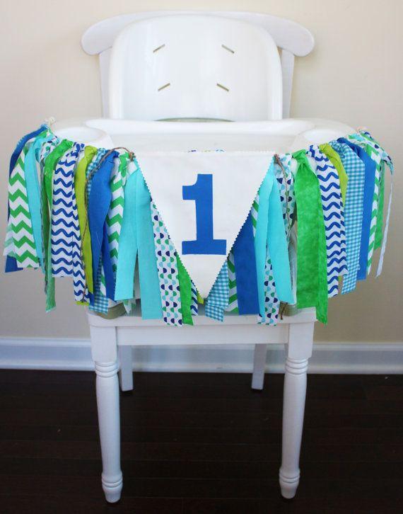 Green High Chair Swivel Armchair Blue Aqua Highchair Banner 1st Birthday Boy By Mylittleboobug