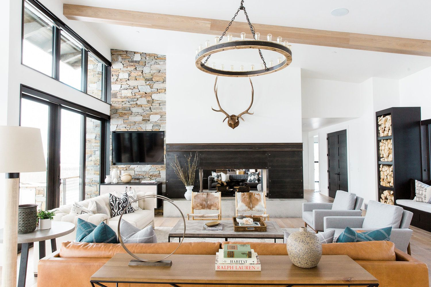 Best Modern Mountain Home Tour Great Room Kitchen Dining 640 x 480
