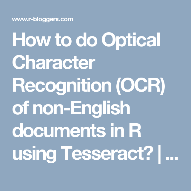 How to do Optical Character Recognition (OCR) of non-English