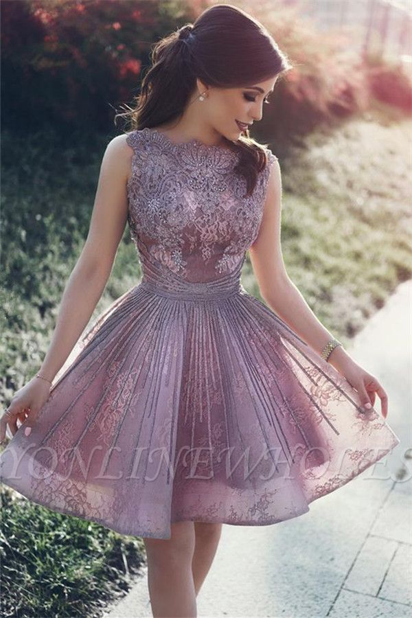 Lace Appliques Open Back Sexy Cheap Homecoming Dresses Short Hoco Dresses Online #lacehomecomingdresses