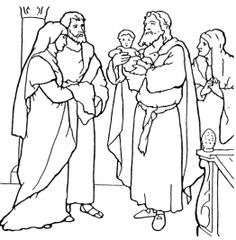 Jesus And Simeon Anna Coloring Page Bible Drawing Coloring