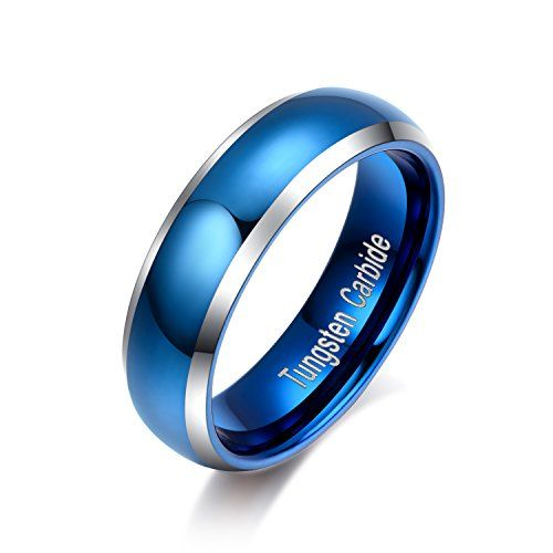 RAUL FANT 6mm Domed Tungsten Carbide Womens Ring Blue Polished Beveled Edge Comfort Fit