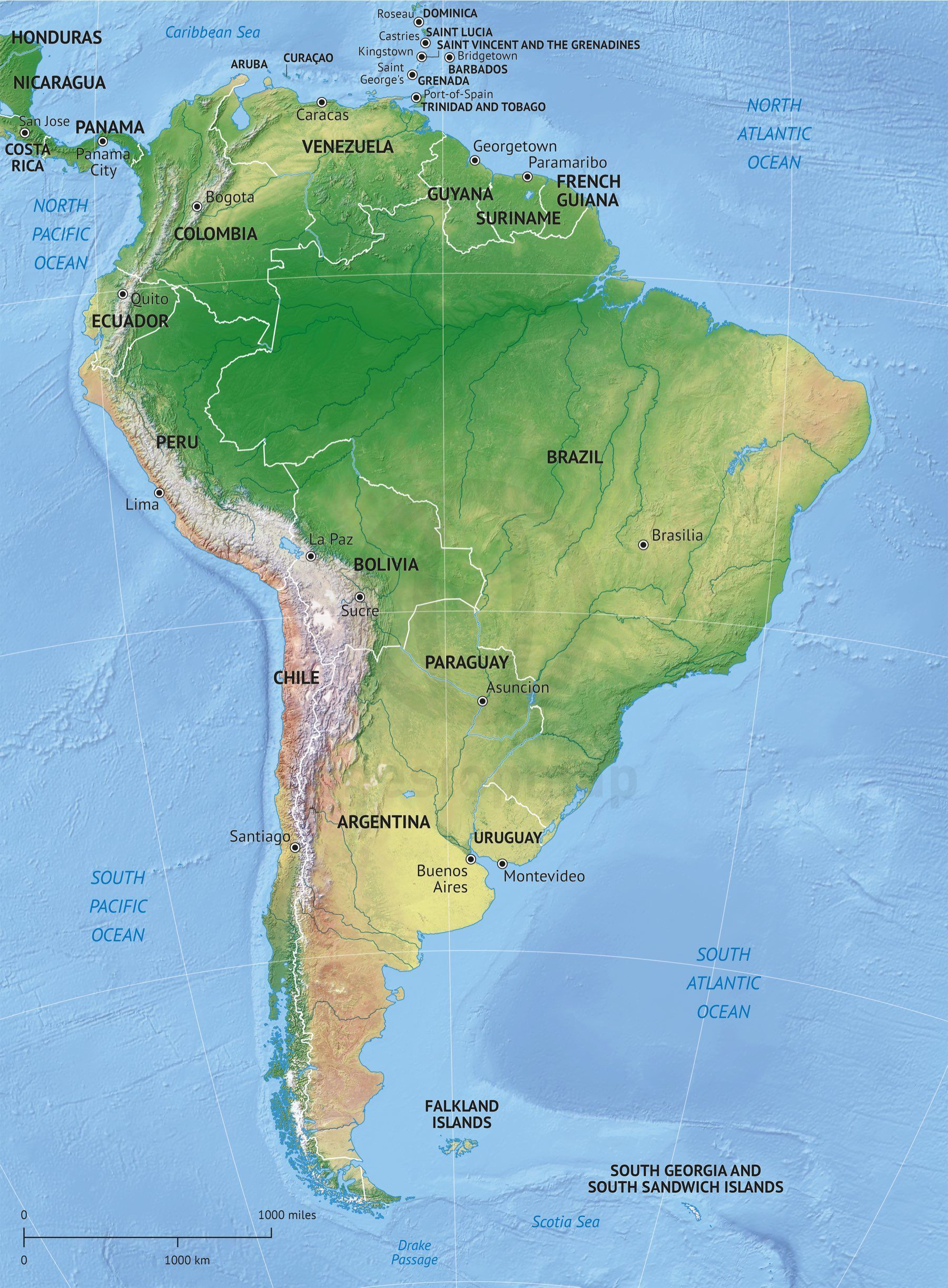 vector map south america shaded relief
