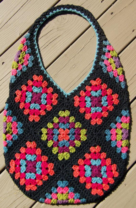 Hold for Dee... Colorful Cotton Granny Square Bag Tote, Market Eco ...