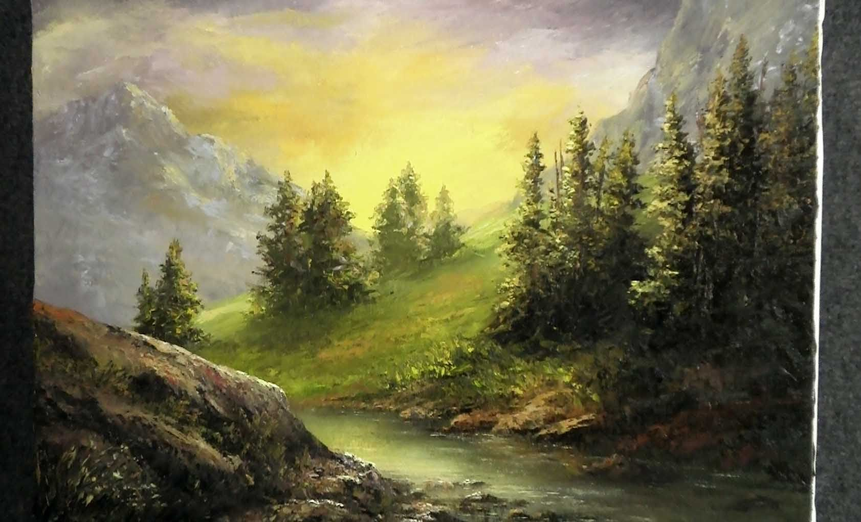 Paint With Kevin Palette Knife Only Mountain Sunlight Landscape Paintings Oil Painting Landscape Kevin Hill Paintings