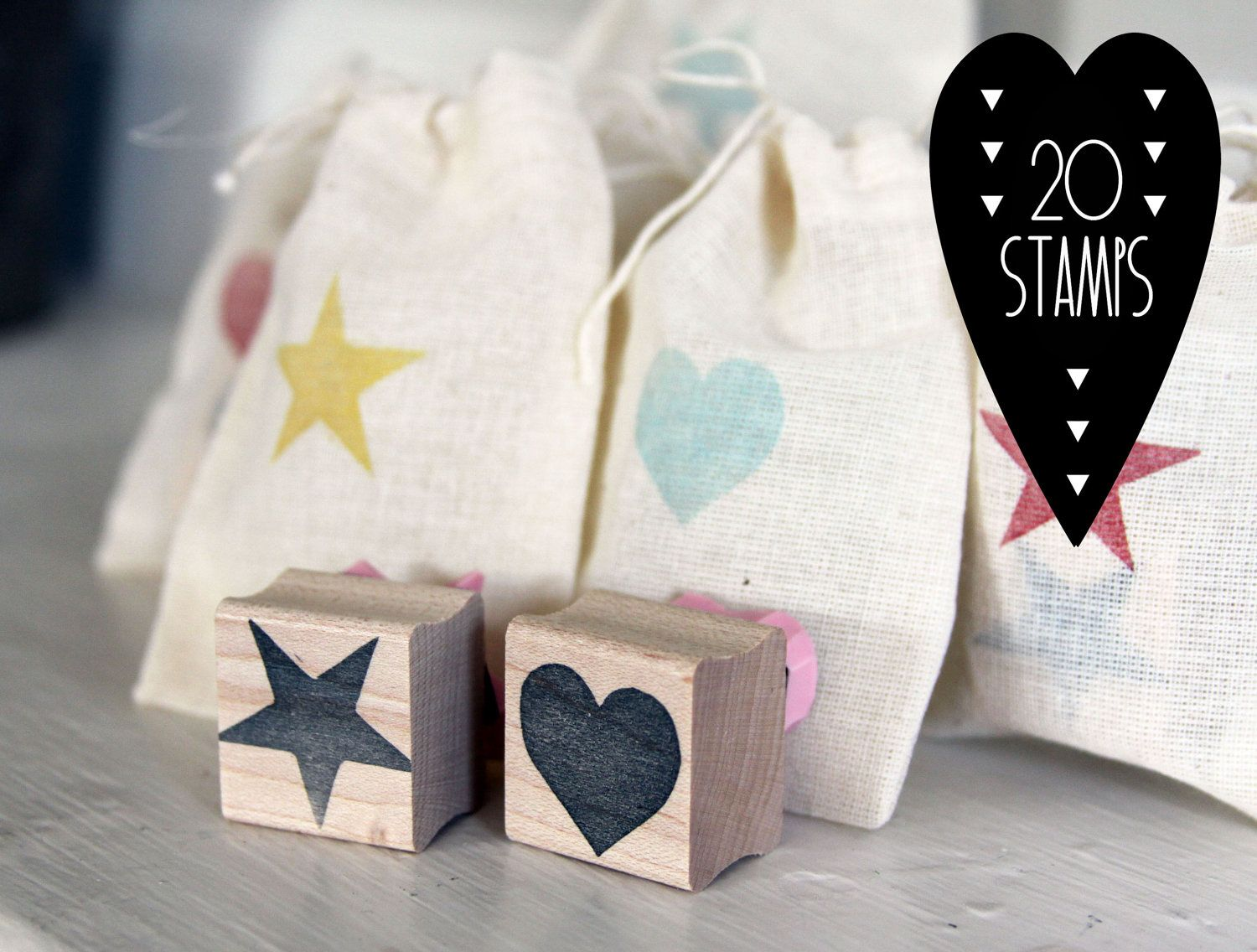 Heart and Star Wedding and Party Favor Stamps, 20 stamps. $65.00 ...
