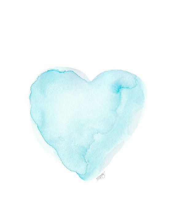 Aqua Watercolor Painting Art Print Coastal Decor 8x10 Sea Blue ...