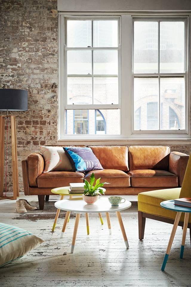 Living Room Inspiration: Tan Leather Sofa | Living Room Set. Modern Sofas.  Brown