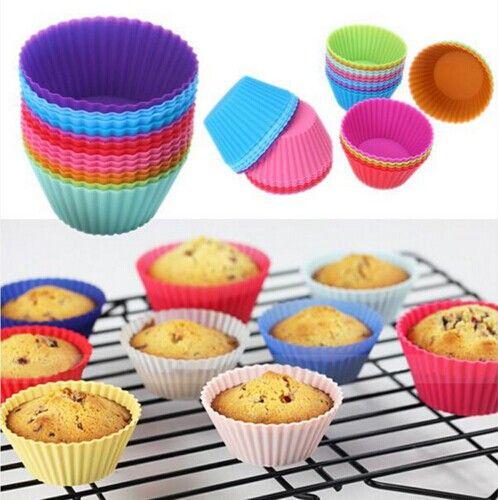 Bestselling 12 stks Siliconen Cake Cupcake Liner Bakken Mold Muffin Ronde Cup Cake Tool Bakvormen Bakken Gebak Gereedschap Keuken