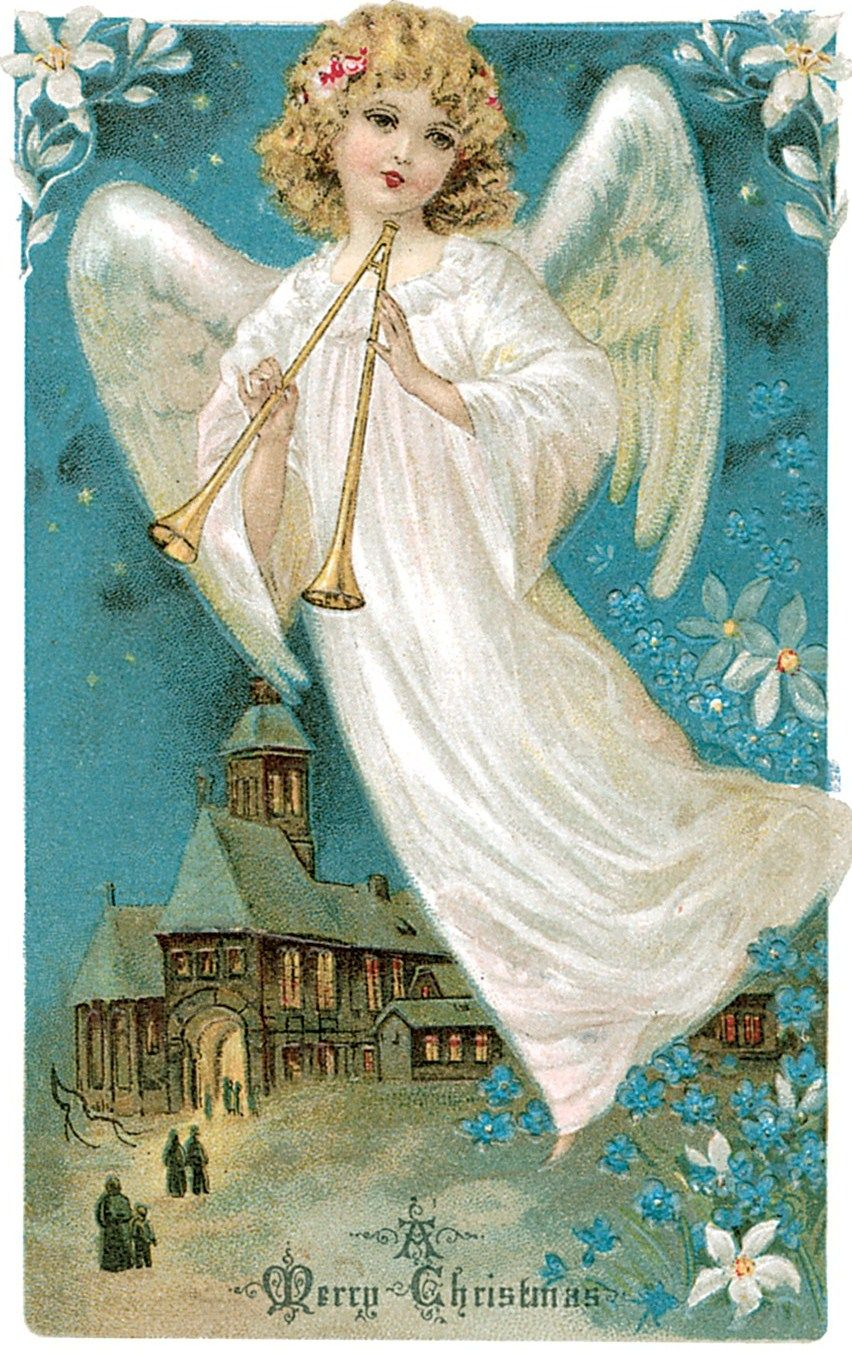 Vintage Christmas Angel Card | cherub | Pinterest ...