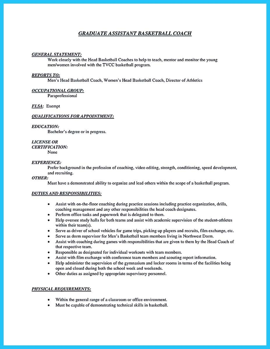 Cool Captivating Thing For Perfect And Acceptable Basketball Coach Resume,