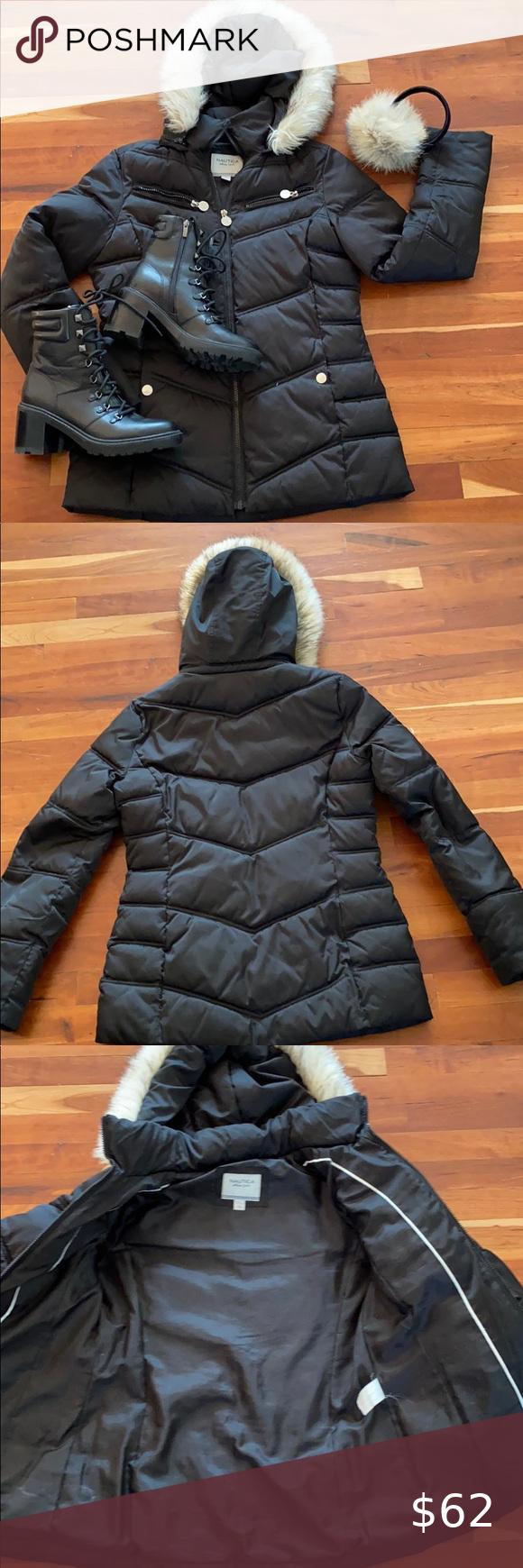 Nautica Black Faux Fur Hood Quilted Puffer Coat Faux Fur Hood Black Faux Fur Quilted Puffer Jacket [ 1740 x 580 Pixel ]