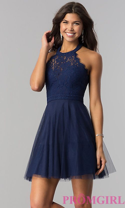 High-Neck Short Halter Party Dress for Homecoming #homecomingdresses