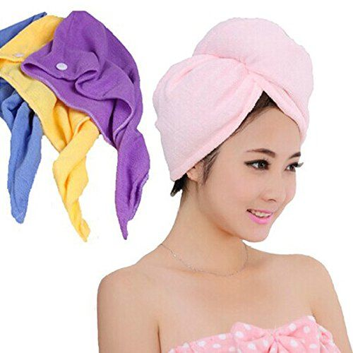 2pcs Coral Fleece Towel Absorbent Quick Dry Hair Drying Wrap Hat Cap Spa Bathing