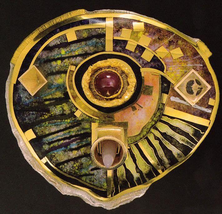 william harper  GROTESQUE SELF-PORTRAIT OF THE ARTIST AS AN ORACLE   1989 gold cloisonne' enamel on fine silver; 14 and 24 kt gold; ruby; quartz; rose quartz