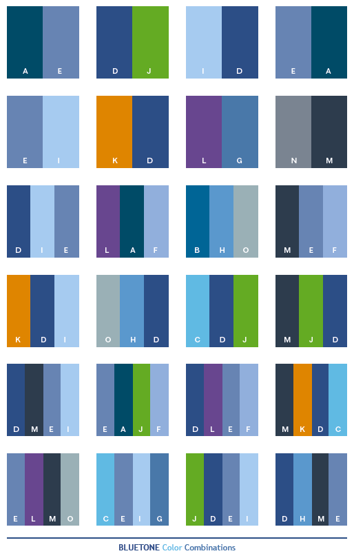Color Schemes Blue Tone Combinations Palettes For Print