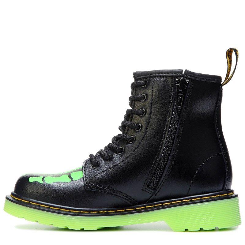 Dr. Martens Kids' Delaney Glow in The Dark Boot Pre/Grade School Boots ( Black/Glow)