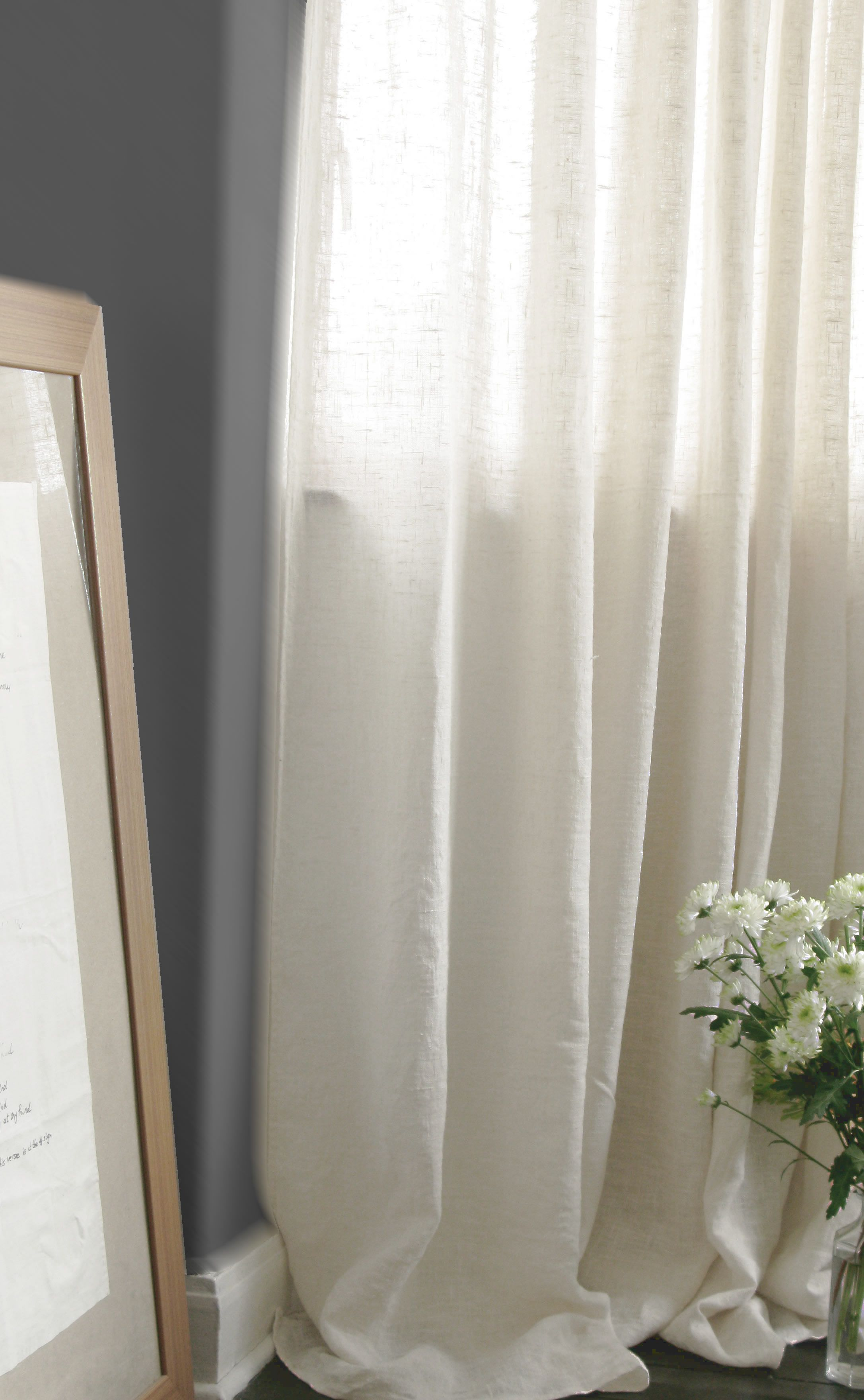 natural white linen curtains by ada ina http www. Black Bedroom Furniture Sets. Home Design Ideas