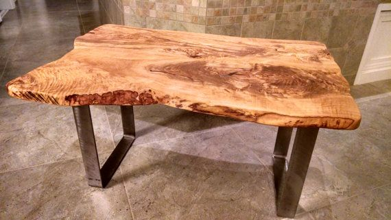 Free Shipping Olivewood Live Edge Wood Slab Coffee Table With Turquoise Inlays Live Edge Wood Wood Slab Live Edge Coffee Table