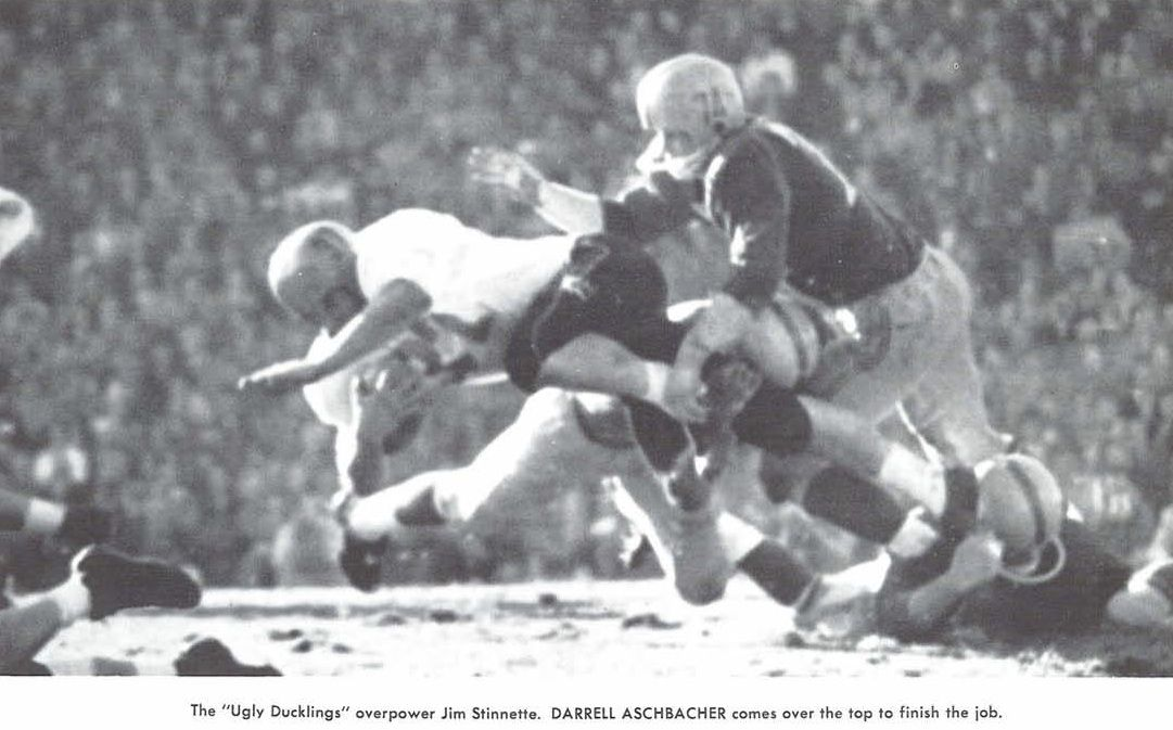 Oregon S Jim Stinnette And Darrell Aschbacher Make A Tackle Vs Oregon State In The 1957 Civil War Football Gam University Of Oregon Historical Figures History