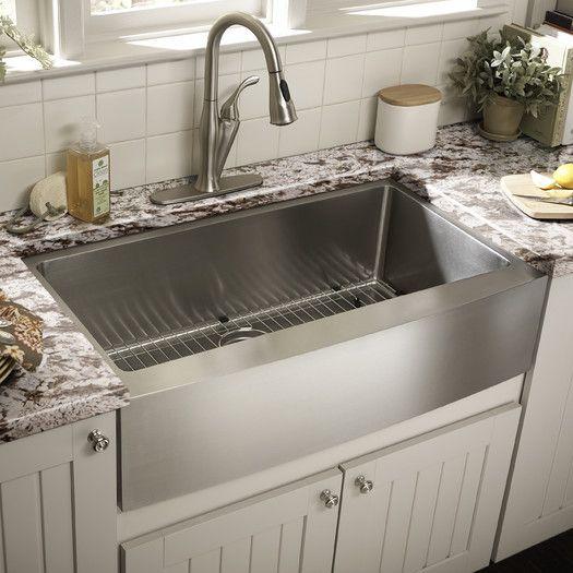 Stainless Steel 32 L X 19 W Undermount Kitchen Sink With Drain Assembly Farmhouse Sink Kitchen Kitchen Sink Decor Rustic Kitchen