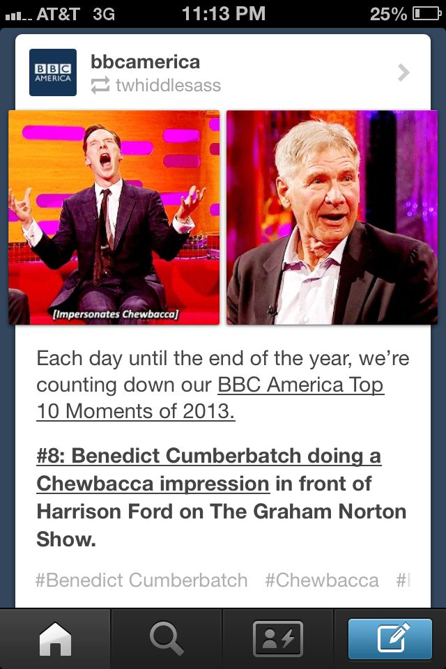 Each day until the end of the year, we're counting down our BBC America Top 10 Moments of 2013: #8: Benedict Cumberbatch doing a Chewbacca impression in front of Harrison Ford on The Graham Norton Show