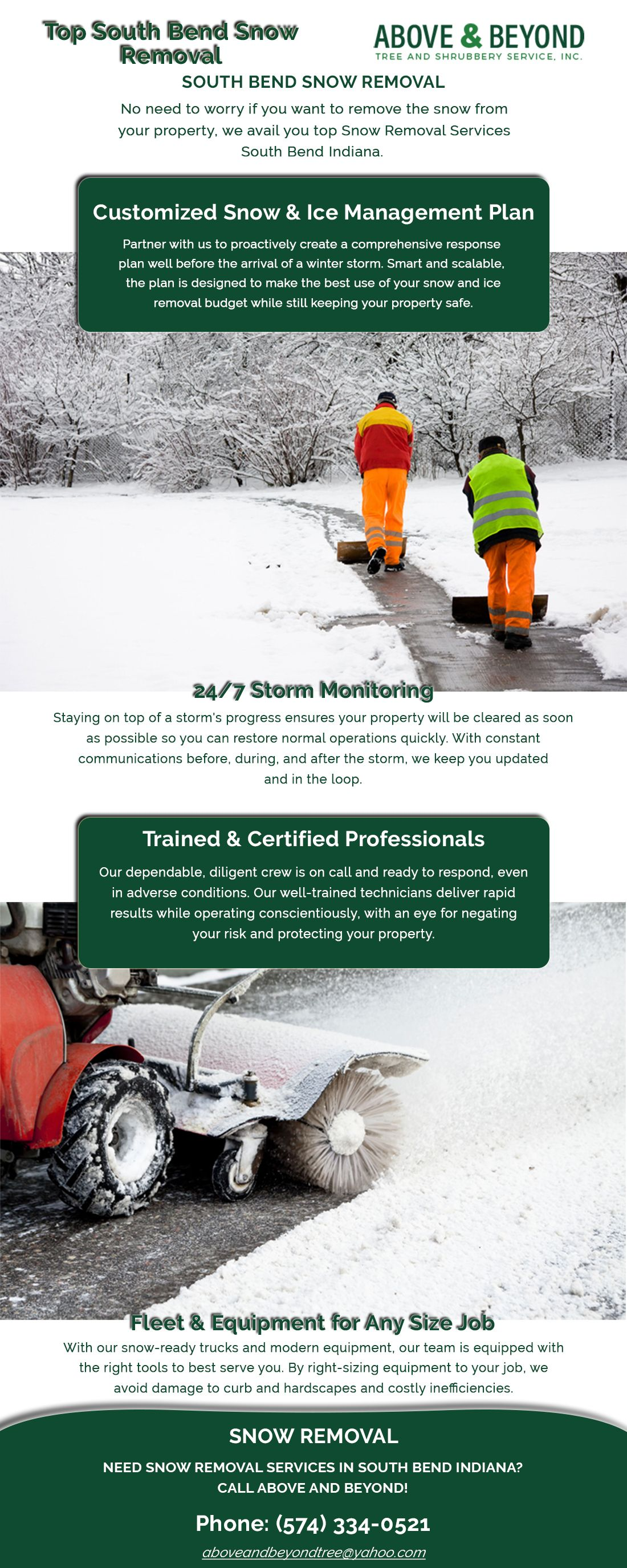 Above And Beyond Have The Expert Team Who Help You To Remove The Snow From Your Property In Best Time And Budget We Provide You E Snow Removal South Bend Snow