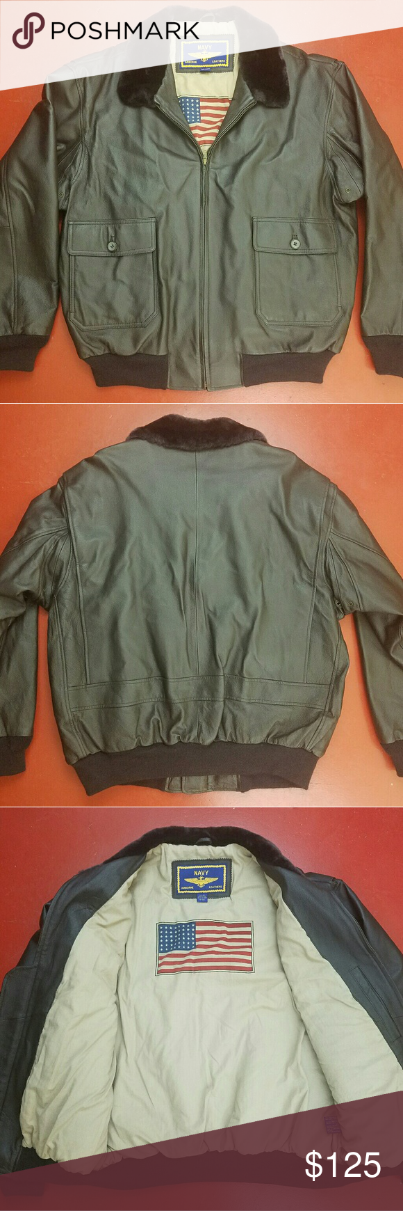 Navy Airborne Leathers Leather Bomber Jacket Excellent Condition No Notable Flaws Navy Airborne Leathers J Bomber Jacket Leather Bomber Jacket Leather Bomber [ 1740 x 580 Pixel ]