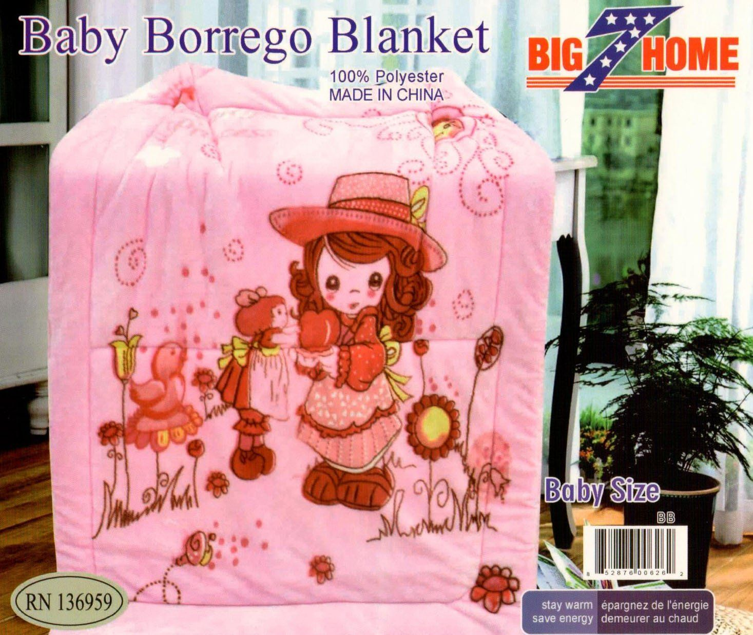 Big 7 Home Baby Sherpa Reversible Blanket, Double Layered W/ Fleece, Breathable, Super Soft, Comfortable (Pink little girl)