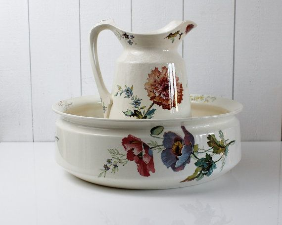 Bathroom Jug antique wash basin and pitcher, villeroy and boch, pitcher and