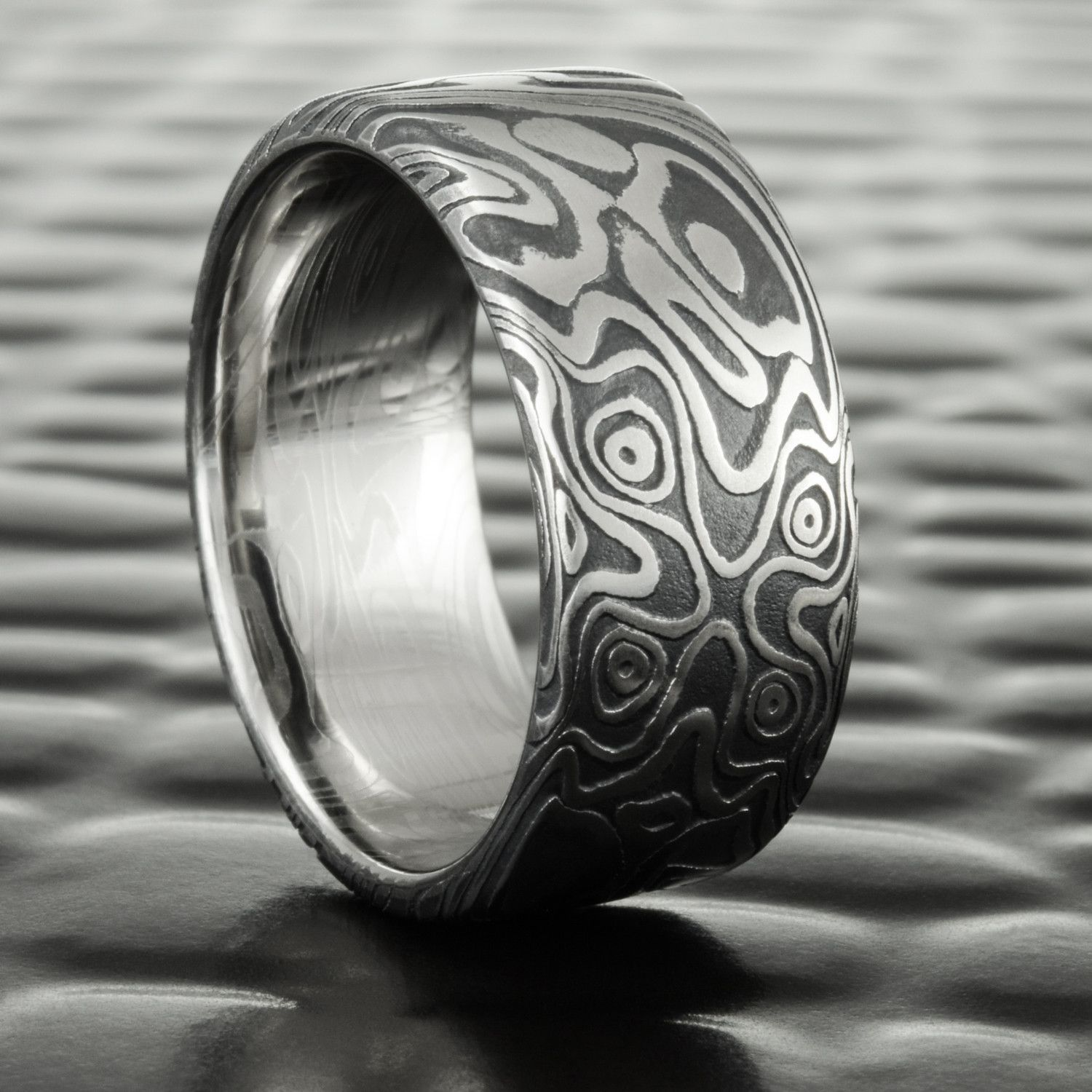 Flat Damascus Steel Wedding Band With Dark Fire Oxide 8mm Wide Star