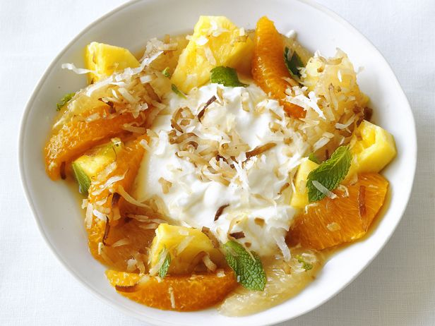 Pineapple Citrus Salad With Coconut Top citrus-flavored cottage cheese with seasonal fruit and crunchy toasted coconut for a quick, light dessert.