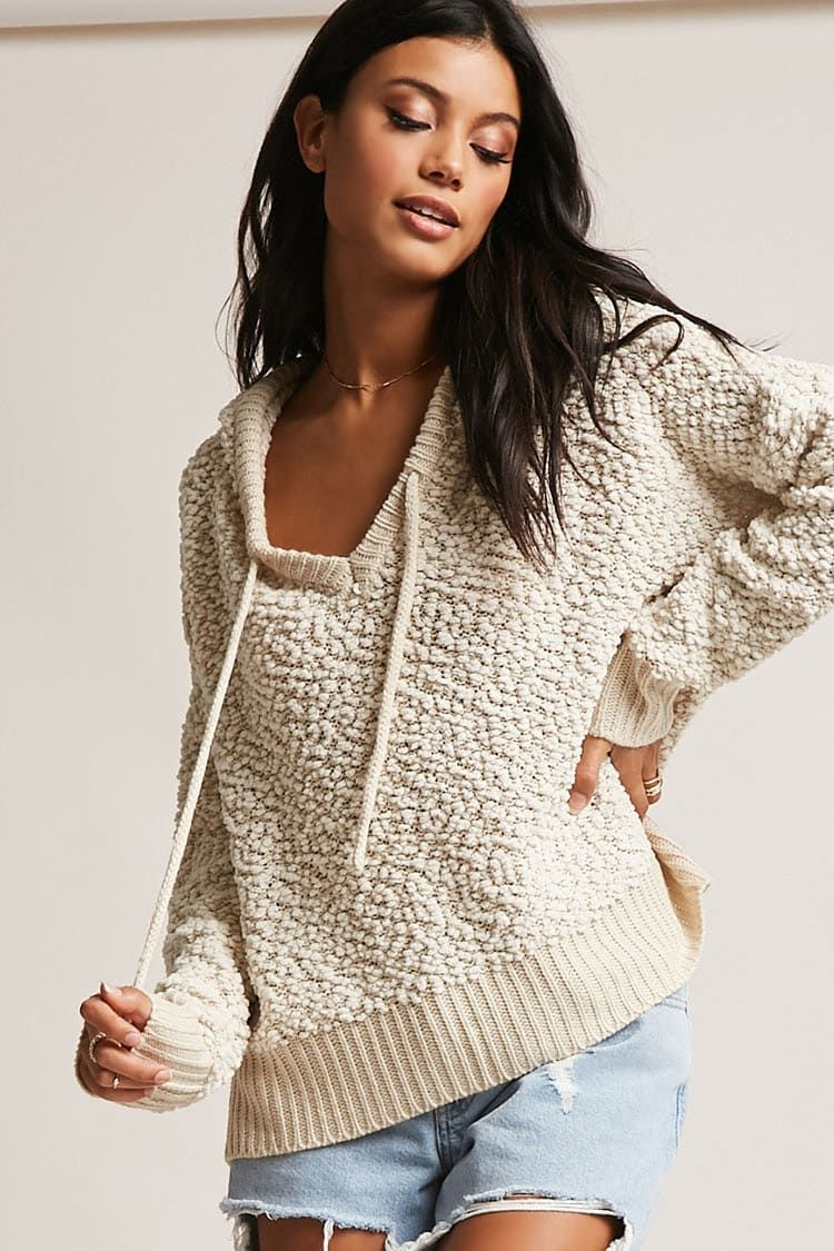Product Name:Popcorn Knit Hooded Sweater, Category:sweater, Price ...