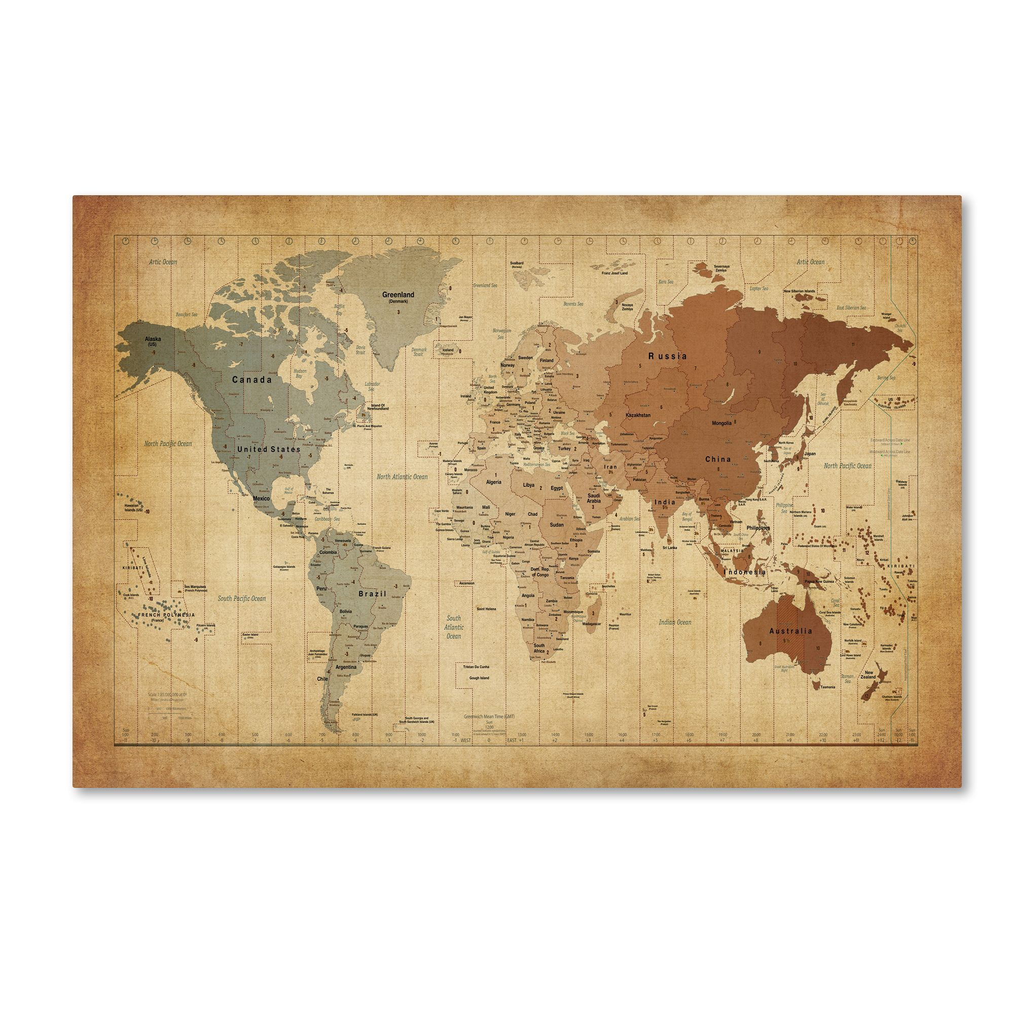 Michael Tompsett \'Time Zones Map of the World\' Canvas Wall Art ...