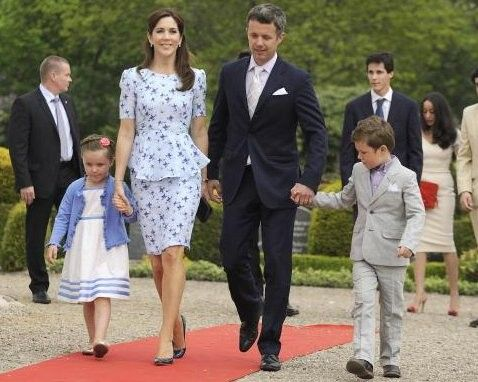 TRH Crown Prince Frederik and Crown Princess Mary arrive for the christening with their two eldest children TRH Prince Christian and Princess Isabella.