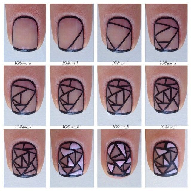 Sheer Black Stained Glass Nails. source: www.makeupforbest.com | Spa ...