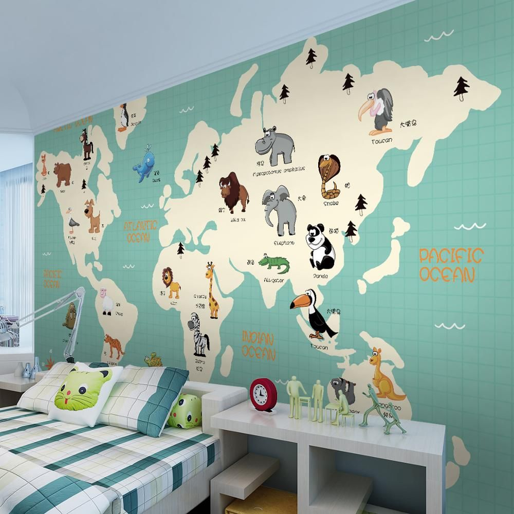 Free shipping 3d cartoon world map animal distribution mural free shipping 3d cartoon world map animal distribution mural childrens room bedroom kindergarten wallpaper gumiabroncs Image collections