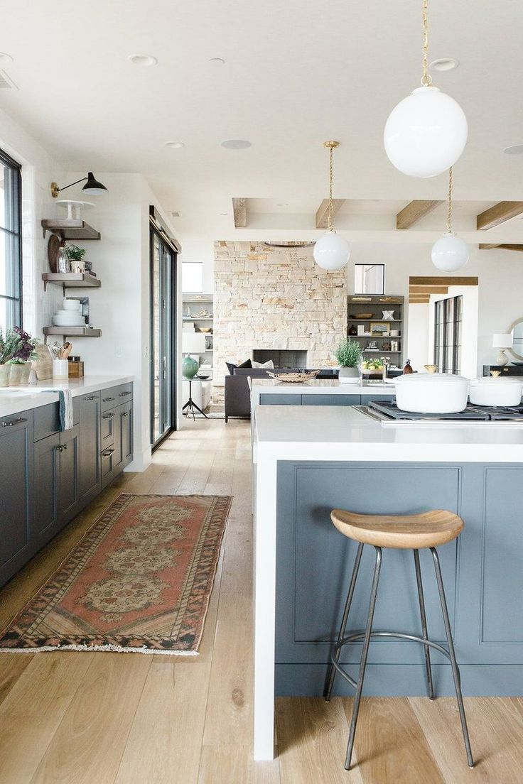 Modern kitchen shelves - Modern Kitchen With Open Shelves Natural Wood Barstools Blue Cabinets With White Waterfall Edged