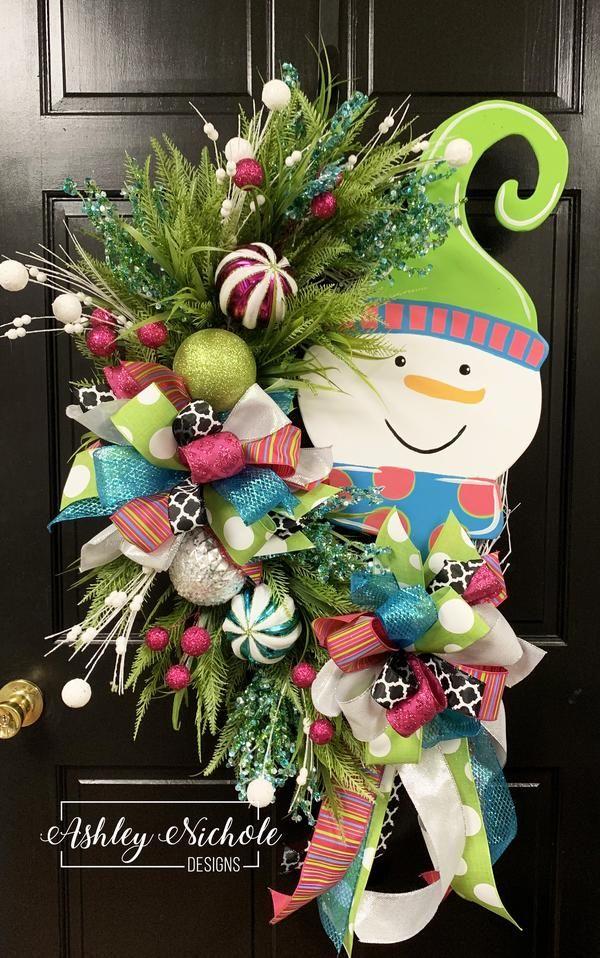 Snowman-Colorful-Pink & Blue-Wreath – AshleyNichole Designs