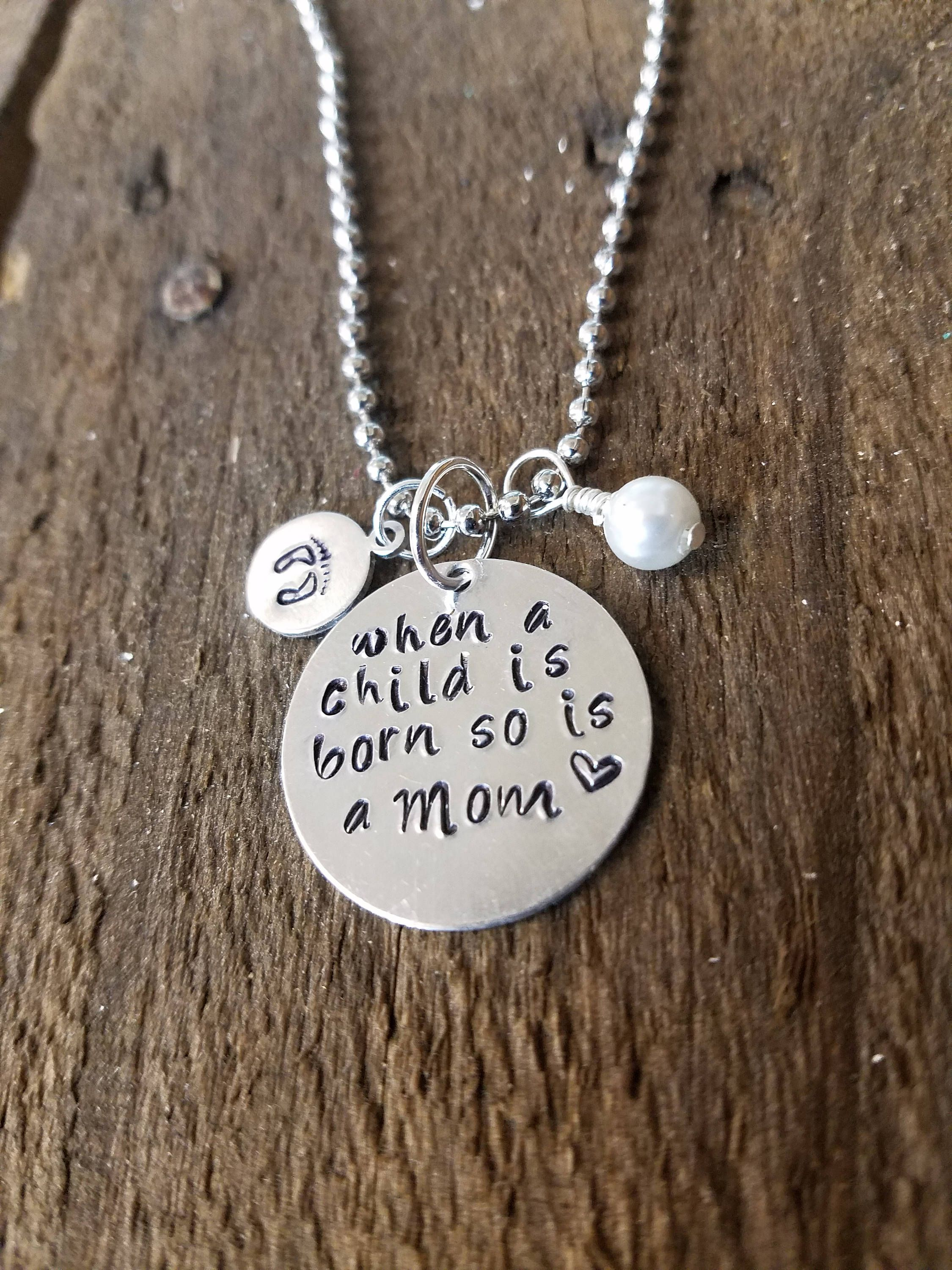 New Mom Necklace Mother Baby Is Born Jewelry Gift