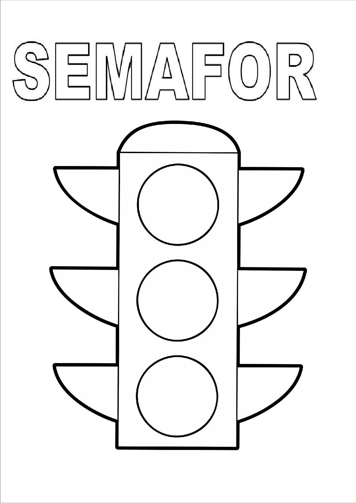 Semafor Traffic Light Coloring Pages Transportation Preschool